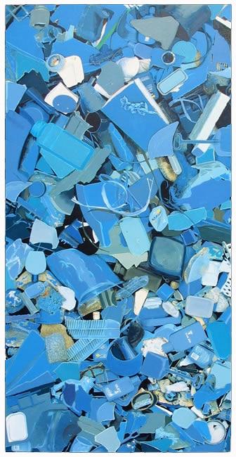 Blue Plastic Litter Painting