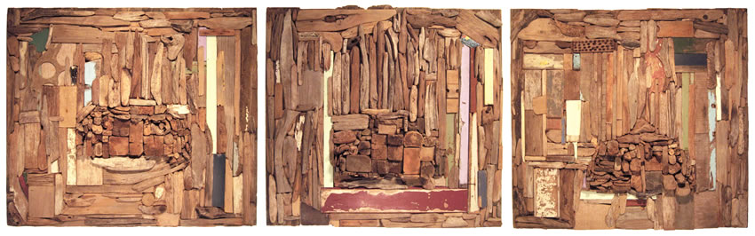 """Three States"" Driftwood Triptych 2009"